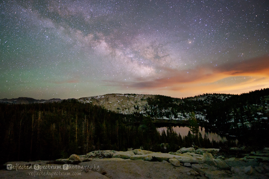 Milky Way over Yosemite National Park at Sunrise Lakes with Aurora